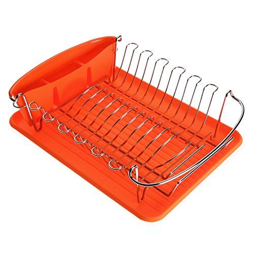 Versa 10370304 Escurreplatos Naranja, 12,5x32x44,5cm, Plástico y acero