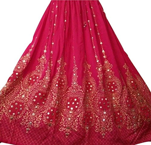 Neue Design Schöne Damen Indian Boho Hippie Zigeuner Lang Sequin Rock | Bauchtanz Röcke | Tänzer Welt (Pink Gold mit orange Einlage) (Kordelzug Rock Falten)