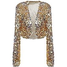 3bc1d9f9e23c5b PrettyGuide Damen Pailletten Jacke Kurze Disco Tanz Langarm Bolero Clubwear  Party Tops