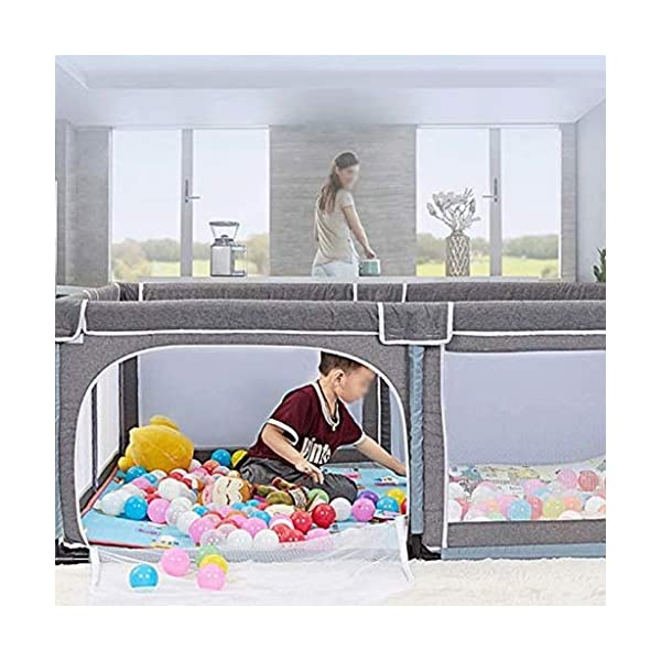 Infant Toddler Fence Household Shatter-resistant Toys House Baby Game Playpen Children's Safety Fence Crawling Bar, Height 70cm  【Safety and eco-friendly】: Keep baby safe & secure whilst providing a large play area, mesh sides for easy visibility and weather resistant canvas floor. 【Toy storage】: The fence is not only a playground for children, but also can put the baby's toys on the fence, let the baby play in the fence, meet the baby's playing spirit and keep a clean and tidy home. 【Ability development】: Intellectual development, manual brain, crawling, interest training, parent-child communication, hearing, interactive toys, grasping, sense. 5