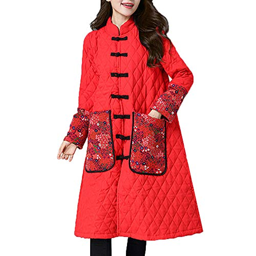 Subfamily Steppjacke FüR Damen Oberbekleidung Frauen Stehkragen Plus Size Baumwolle GefüTterte Jacke Wintermantel Ethnic Style Lose Langarm Crimper Medium Lange Dicke Winter Outwear Black, Rot