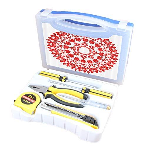 Handliches Werkzeugset Kombination Haushalt Red Mandala Grundlegende DIY Handwerkzeug-Set-Box Enthält Schraubendreher, Zange, Maßband, Teststift, Schneidewerkzeug, Ungarisches rundes Volkskunstmuster -