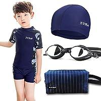 JLWF Conjunto De Trajes De Baño para Niños Pantalones De Natación para Niños SPA Dividido Protección Solar Natación Traje De Baño De Secado Rápido Blue Four Piece set-14#(22-26kg