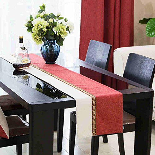 BSNOWF-Chemin de table Table Runner Solide Couleur Couture Tissu Imitation Chanvre Classique Table Basse Drapeau Simple Moderne (Couleur : A, taille : 32 * 160cm)