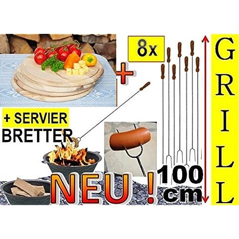 8x Gigante–Barbecue Spiedini barbecue + 4x legno spazio piatto, tagliere D 28cm, rotondo, Set da (Piatto Gigante)