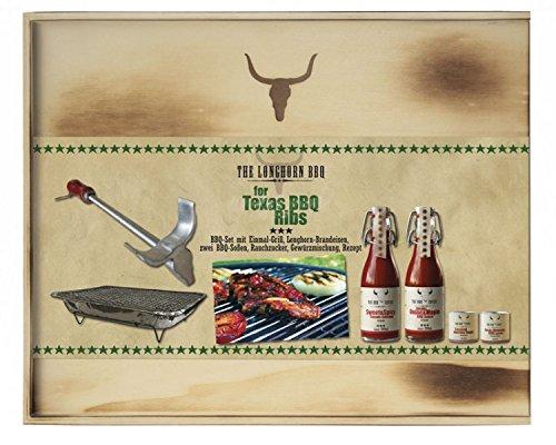 """517rSsQDhbL - Grillbox """"BBQ Kit"""" Grillset Einweggrill Outdoorgrill Grillsauce Grillgewürz Brandeisen Feinkost ausgefallen Gewürz Geschenkset Geschenkbox Grillen (Texas BBQ Ribs)"""