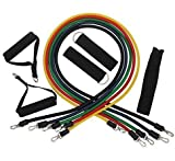 Anpro Fitnessbänder Klimmzug-Band 6 Teilige mit Tür-Anker gesetzt, Griff, Knöchelriemen und Tragetasche für Heimfitness / Reisen Fitness / Kraft