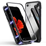 Coque pour iPhone 6 Plus/6s Plus, Coque d'adsorption magnétique ZHIKE Cadre métallique Ultra Fin Verre trempé avec Couvercle à Aimant intégré pour Apple iPhone 6 Plus/6s Plus (Noir Clair)