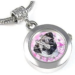 Pug reloj para el collar o pulsera diseño de carlino y fondo rosa
