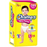 Premium Champs High Absorbent Premium Dry Pant Style Diaper | Premium Pant Diapers | Premium Dry Pant Diapers | Premium Baby Diapers | Anti-rash And Anti-bacterial Diaper | (Large, 34)