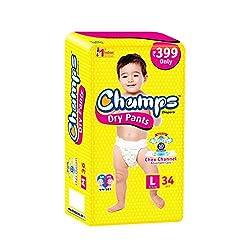 Premium Champs High Absorbent Premium dry Pant Style Diaper | Premium Pant Diapers | Premium dry pant Diapers | Premium Baby Diapers | anti-rash and anti-bacterial diaper | (Large, 34)