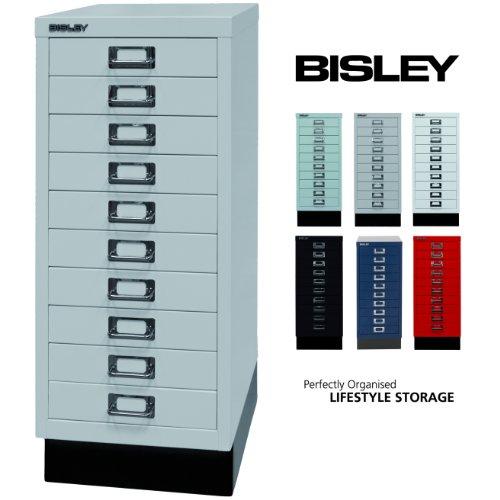 Bisley Schubladenschrank 29 aus Metall   Schrank mit 10 Schubladen und Sockel   Büroschrank DIN A4   Werkzeugschrank   Metallschrank in 6 Farben (Lichtgrau) -