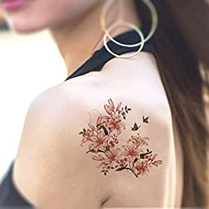 Tafly fake tattoo flower and birds temporary tattoo for Fake tattoos amazon