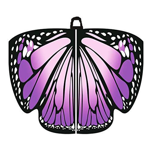 Kostüm Adult Green Giant - Sllowwa Schmetterling Kostüm Damen Schmetterling Flügel Umhang Schal Poncho Kostüm Zubehör für Show/Daily/Party Karneval Halloween Parties Faschingskostüme (Lila)
