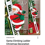 Christmas Santa Claus Climbing On Rope Ladder Xmas Trees Hanging Home Decor By Partyhut®