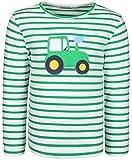 zoolaboo Langarmshirt Jungen Traktor Tobi, Gestreift in Weiß/Grün, Größe 110
