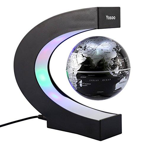 "Magnetische Schweben Floaten Weltkarte Globus, 8"" Rotierende Erde Globus Kugel mit Led Display Stütze - Geografie Bildungs Kinderspielzeug Geschenk für Kind (C-form)"