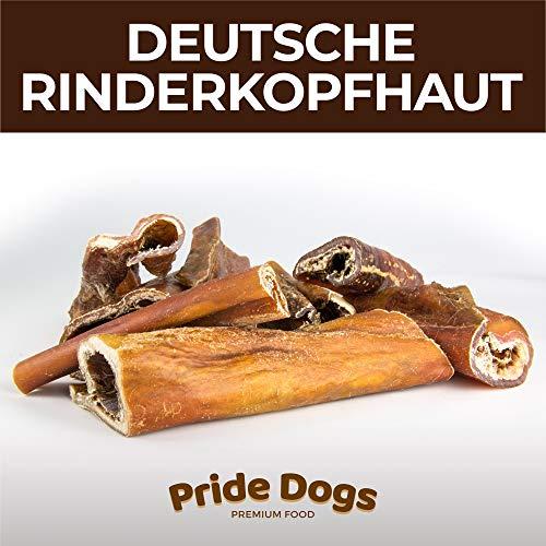 PrideDogs Rinderkopfhaut 30 cm 500g der Premium Kausnack für Ihren Hund | 100% Rind aus Deutscher Herstellung | im geruchsneutralen Beutel | Kauartikel