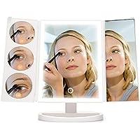INLIFE Espejo Maquillaje Luz Pantalla Táctil 38-LED Espejo Cosmético Ajusta luz Aumento 3X / 5X / 10X Rotación Ajustable de 180 °38-LED Fuente de alimentación Dual
