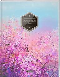 """TULPE Liniertes Notizbuch A4 """"C080 Rosa Blumen"""" (140+ Seiten, Vintage Softcover, Doppelrand, Seitenzahlen, Register - Dickes Notizheft, Deutschheft, Schreibheft, Schulheft, Tagebuch, Lineatur 27)"""