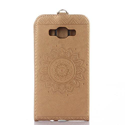 Samsung Galaxy A5 2015 Hülle Leder Tasche Flip Cover Galaxy A5 2015 Wallet Case Alfort Stilvoll Handycover Lila Mandala Blumen Muster PU Ledercase Brieftasche Handyhülle für Samsung Galaxy A5 ( 2015 ) Golden