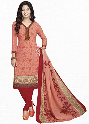 Ishin Synthetic Peach Printed Party Wear Wedding Wear Casual Daily wear Festive Wear Bollwood Latest Design Trendy Unstitched Salwar Suit Dress Material (Anarkali/Patiyala) With Dupatta  available at amazon for Rs.499