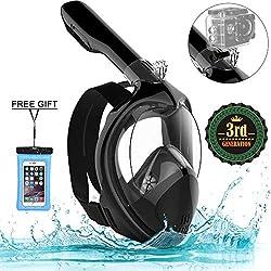 Marlrin Masque de Plongée, Masque de Snorkeling Panoramique Plein Visage 180° Visible Anti-Brouillard Anti-Fuite pour Adulte et Enfant (Noir, S-M)
