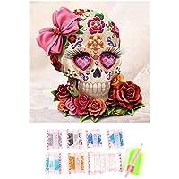 DIY pintura diamante 5d completo Kit , Flor y cabeza de cráneo , De Punto De