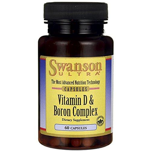 Swanson Ultra - Vitamin D + Bor, 60 Kapseln - Komplex für Knochen & Gelenke Gesundheit - Vitamin D3 (Cholecalciferol) 400 IE + Bor 6mg (von FruiteX-B® PhytoBoron 225mg) - Patentierte Bio-Aktiv Nahrungsergänzung (Vitamin D-3 & Boron Complex capsules - Bone & Joint Health Supplement - Nahrungsergänzungsmittel) (Boron Caps)