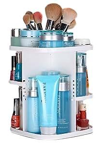 EJY plastique Blanc-Boite de Rangement Maquillage Cosmétique 360 degrés de Rotation avec boîte de rangement