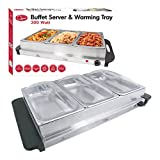 Quest Buffet Server/ Hotplate with 3-Sections, 300 Watt