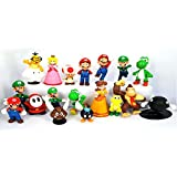 LOT DE 18 Figurines de 5 CM de Super Mario Bros: DONKEY KONG, MARIO, MARIO SAUTEUR, YOSHI SAUTEUR, YOSHI, PRINCESSE PEACH, PRINCESSE DAISY, LUIGI, LUIGI SAUTEUR, TOAD, KOOPA TROOPA, BOB-OMB, SHY GUY, BULLET BILL et LAKITU