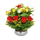 PG Creations Rose Bunch Artificial Flower Plant with Vase Pot, Height 35 cm, Yellow