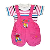 Littly Baby Boy's and Baby Girl's Corduroy Dungaree with Cotton T-Shirt Set (10073_2, Pink)