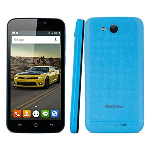 Blackview A5 4.5 Zoll 3G Smartphone Android 6.0 Dual SIM Quad-core 1.3GHz QHD Screen RAM 1GB 8GB ROM Dual Kamera GSM/WCDMA Gesture Handy unlocked Wifi GPS FM Blau
