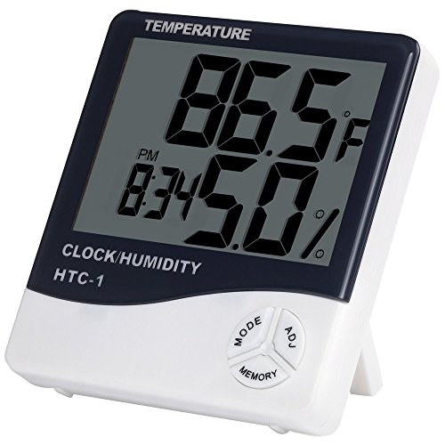 Anpro Digital Indoor Temperature and Humidity Meter with Alarm Clock, LCD Hygrometer Thermometer Monitor for Home, Office Test
