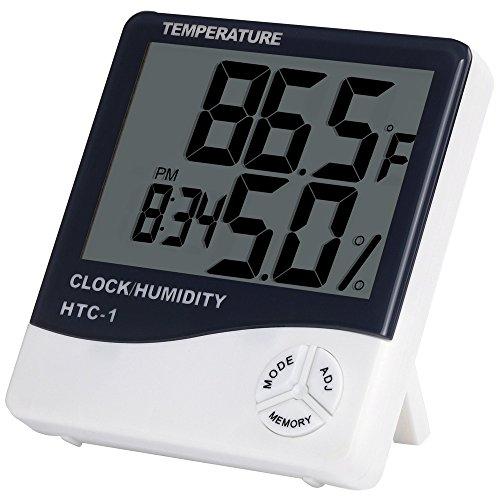 Anpro Digitales Thermo Hygrometer Luftfeuchtigkeit Messen Raumluftüberwachtung mit Alarm Wecker...