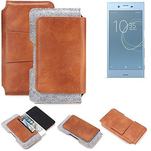 K-S-Trade Sony Xperia XZs Dual SIM Gürteltasche Schutz Hülle Gürtel Tasche Schutzhülle Handy Smartphone Tasche Handyhülle PU + Filz, braun (1x)