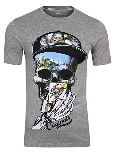 JACK & JONES Herren T-Shirt JORsoytan Tee SS Crew Neck Skull Print, (Light Grey,L)