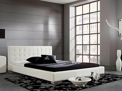"Polsterbett Bett Betten Ehebett Doppelbett Jugendbett Einzelbett ""Miralda I"" (100x200 cm, Weiß)"
