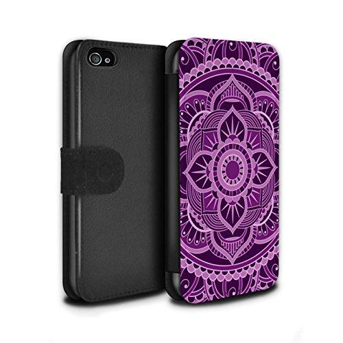 Stuff4 Coque/Etui/Housse Cuir PU Case/Cover pour Apple iPhone 4/4S / Octogone/Violet Design / Art Mandala Collection Floral/Violet