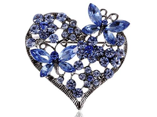 Alilang Frauen Elegant Silber Strass Gunmetal Lavendel Liebes Herz Schmetterlings Duo Brosche