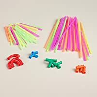 Drinking fun straw and connectors included construction set 194 PCS