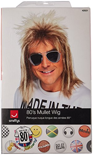 96ccbe7aaf ... Moustache and Aviator Shades Smiffy s 80 s Mullet Wig