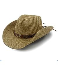 GHC gorras y sombreros para Summer Straw Women Men Hollow Western Sombrero de vaquero con cuero de moda (Color : 1, Size : 57cm-59cm)