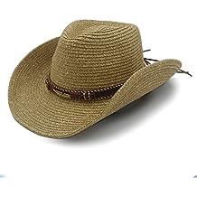 Best Choise Sombrero de Vaquero Occidental Hueco para Hombres Sombrero de Paja para Mujeres con cinturón