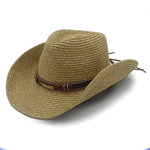 """Best Choise Sombrero de vaquero occidental hueco para hombres Sombrero de paja para mujeres con cinturón de cuero 22 """" Hermoso ( Color : 1 , Size : 57cm-59cm )"""