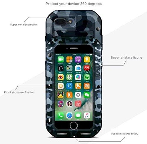 """iPhone 7 Plus 5,5 """"Metallic Strap Case, i-Nings Schwerer wasserdichter, schlagfester, schlagfester Aluminiumlegierungs-Silikon-Stoßfänger mit Gorilla-Glas-Bildschirmfolie für Apple iPhone 7 Plus 5,5 Z City Camouflage"""