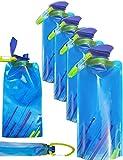 Outdoor Saxx - 4X Platz-sparende Faltbare Trink-Flasche mit Karabiner | BPA-Frei | Rucksack Fahrrad Wandern Festival Flugzeug | Faltbar 700ml 4er Set