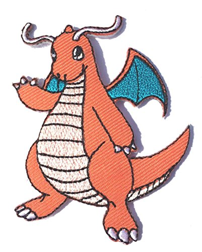 Dragonite Patch Pokemon Go Aufbügeln oder nähen auf Badge Fire Dragon Aufnäher Souvenir Retro DIY Kostüm Team Instinct Mystic Valor